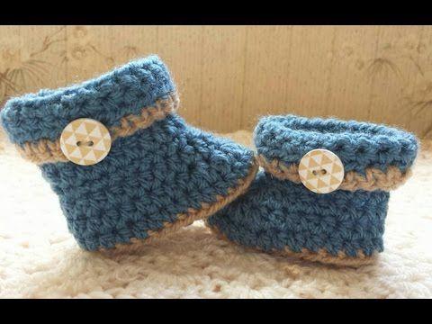 nouveau style b8930 8e134 Comment faire des bottes de bébé au crochet - YouTube ...