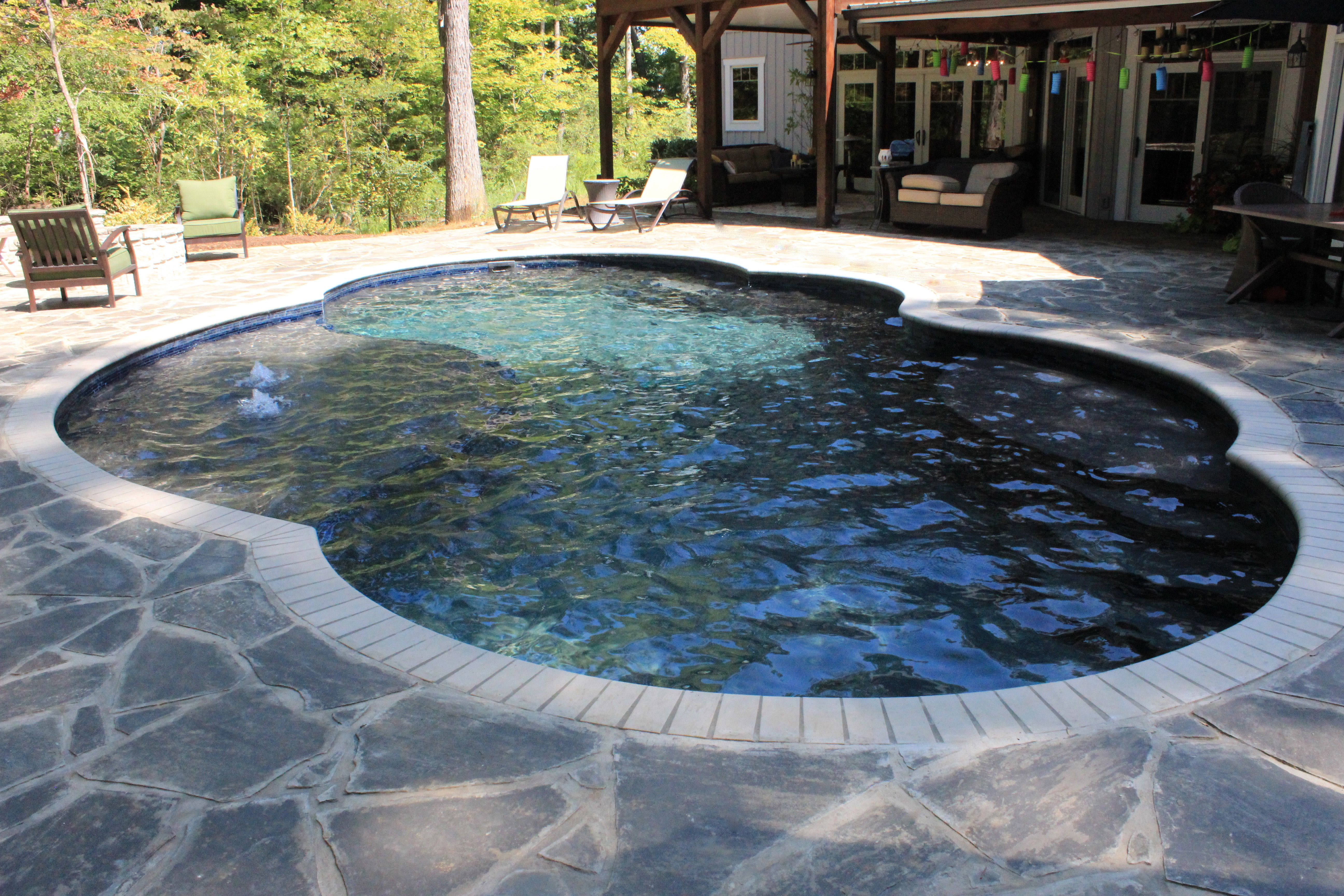 Dark green color, fiberglass pool, freeform shape with tanning