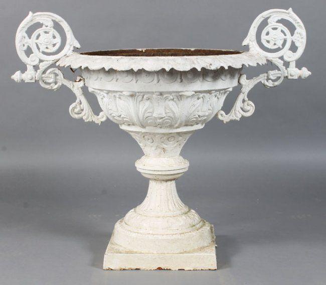 Vintage Cast Iron Urns | 230: ANTIQUE VICTORIAN CAST IRON GARDEN URN : Lot  230