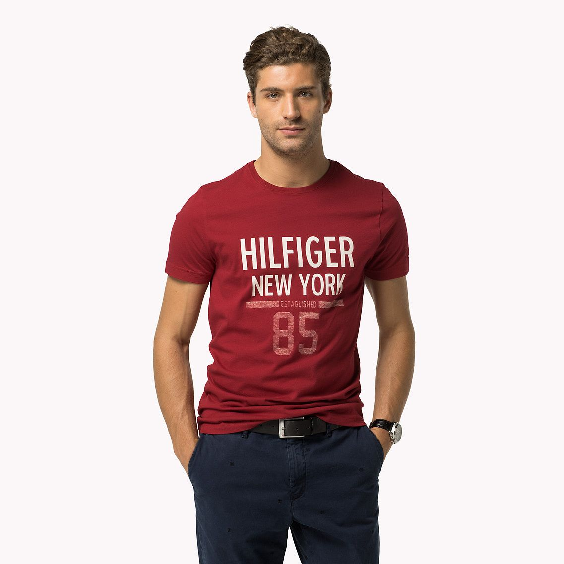 03872a3e376abe Shop the blue cotton printed crew neck t-shirt from the latest Tommy  Hilfiger t-shirts collection for men. Free returns & delivery over 50£.  8719253418808