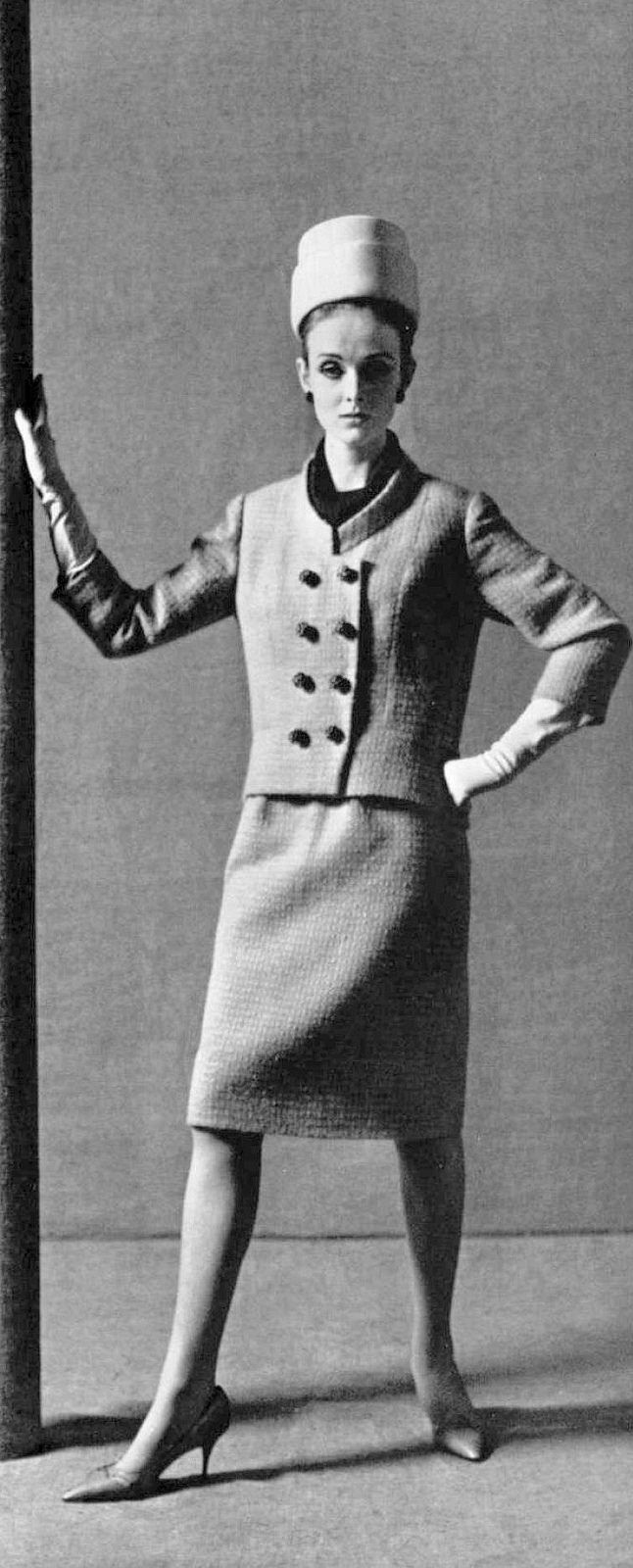 Grace Coddington in sky blue wool suit by Philippe Venet, photo by Guy Arsac, 1963