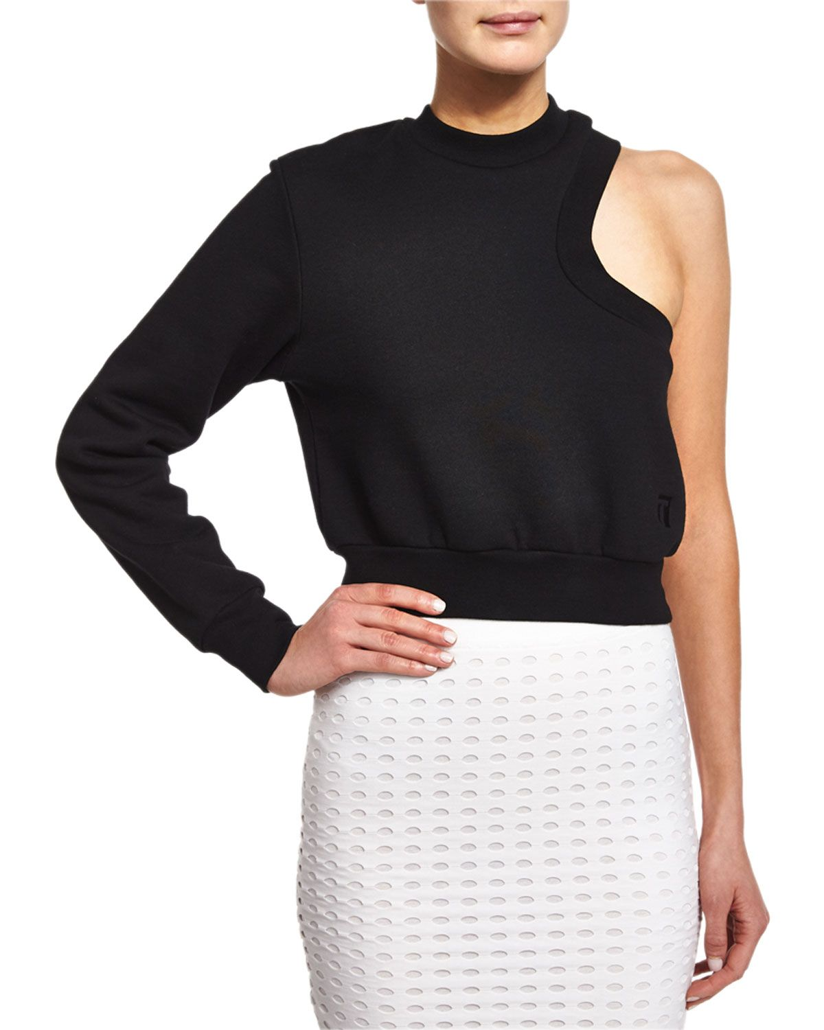 One-Sleeve Cropped Sweatshirt, Black, Size: X-SMALL - T by Alexander Wang