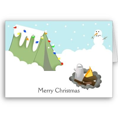 Camping Christmas Cards.Winter Tent Camping Christmas Card Zazzle Com Be An