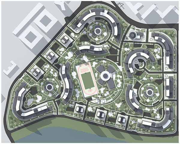 Planning And Building Of The Residential Microdistrict On Behance Urban Design Plan Urban Architecture Urban Landscape Design