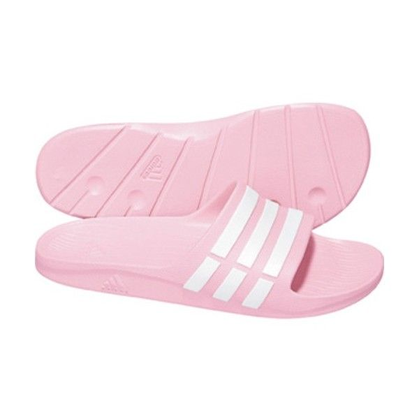 adidas Women s Duramo Slide Pink White ❤ liked on Polyvore  7a434d1732