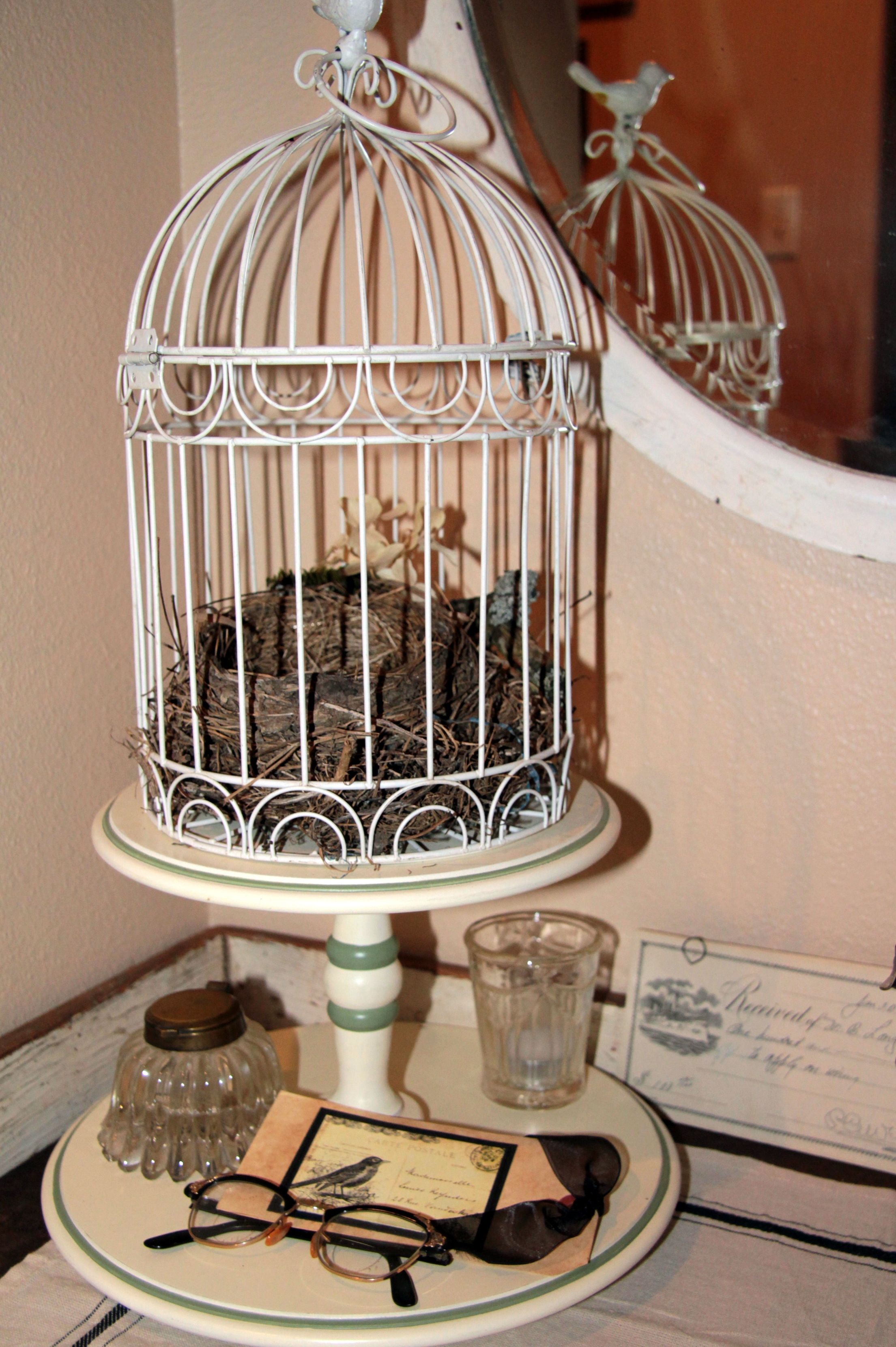 Cage and lazy susan rustic shabby chic candle shelf