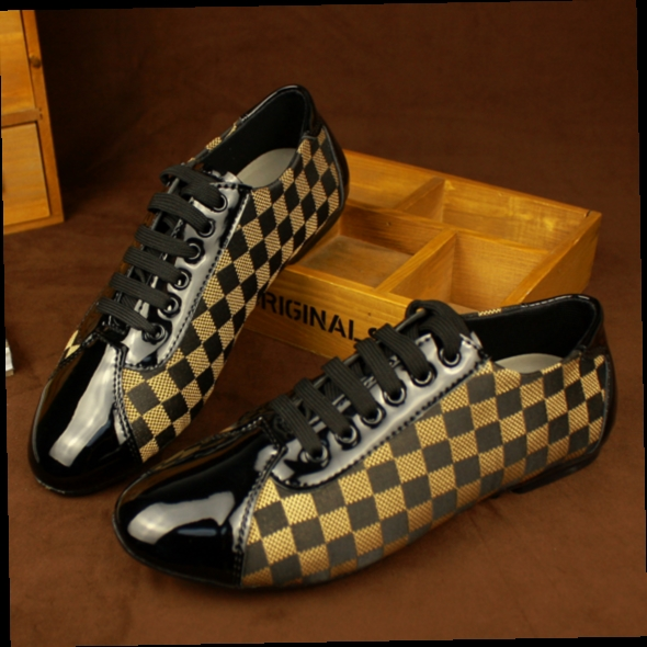 46.98$  Watch here - http://ali4wp.worldwells.pw/go.php?t=32740121344 - new 2017 plaid frint mens flat casual shoes business shoes patent leather driving shoes size 38-43