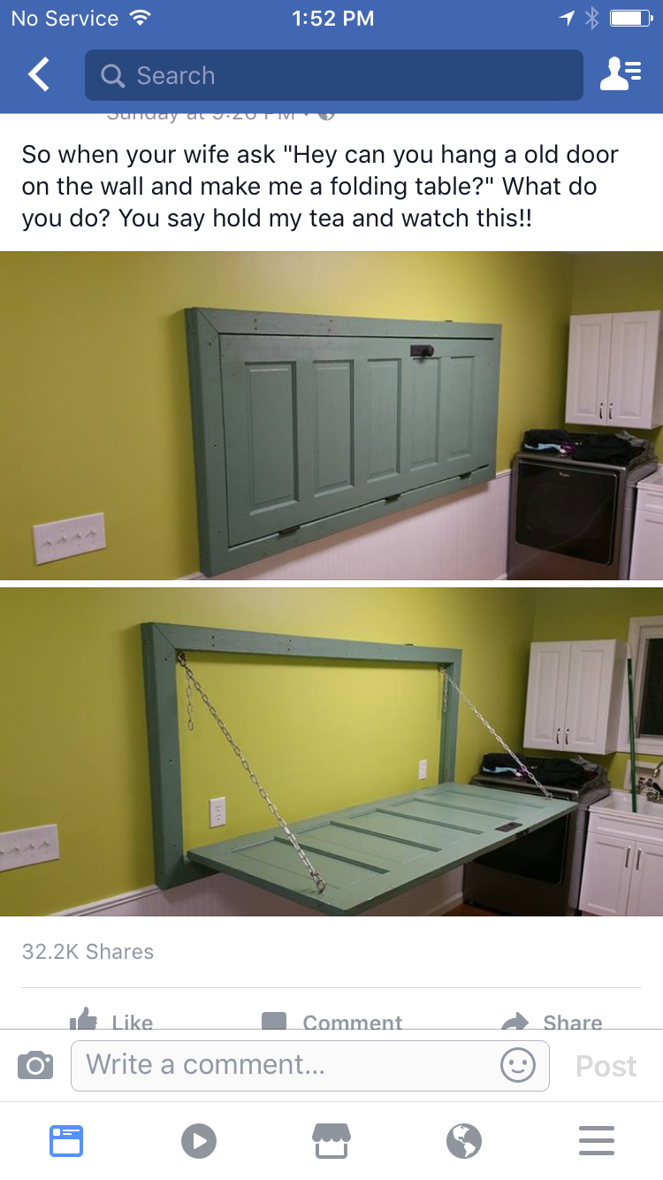 Old Door Folding Down Table 3 Very Cool Way To Repurpose Not Sure I Ll Use This But Very Nice Laundry Room Folding Table Laundry Table Laundry Room