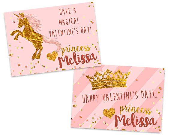Unicorn Valentines  Personalized Princess Pink and Gold Classroom
