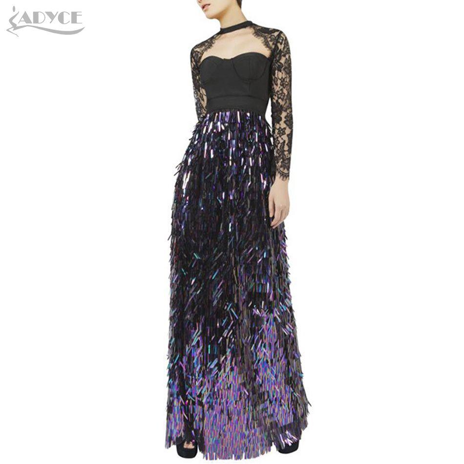 92b46906e1 Winter Bandage Dress Women Lace Sequins Long Sleeve Maxi Dresses Celebrity Party  Dress Vestidos