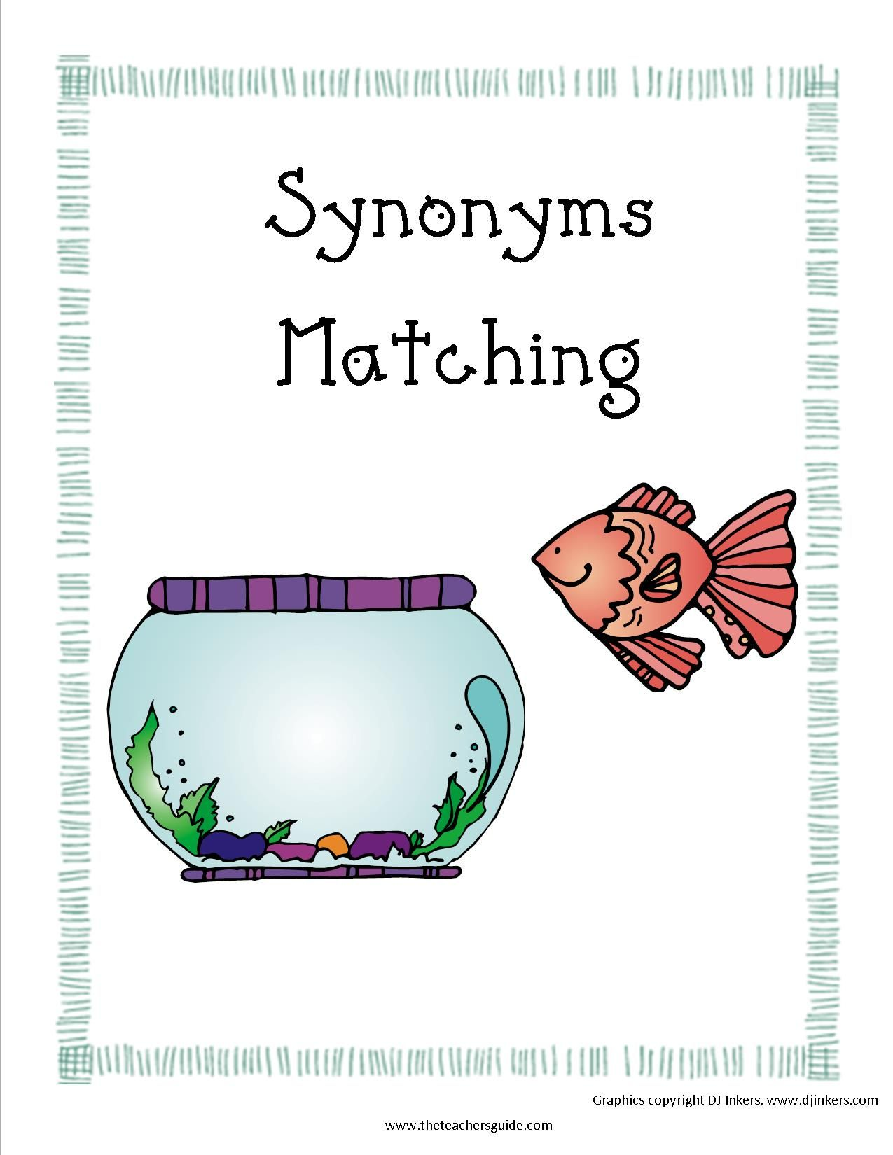 Synonyms Matching Game Printout