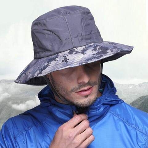 121cc5ecf54 Mens camo sun bucket hat with string UV protection summer fishing hats