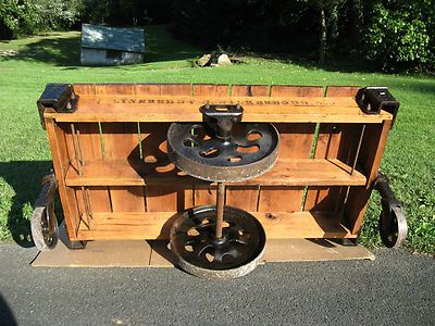 Antique Industrial Railroad Factory Cart Vtg Coffee Table with Cast Iron Wheels | eBay - buy it now $695