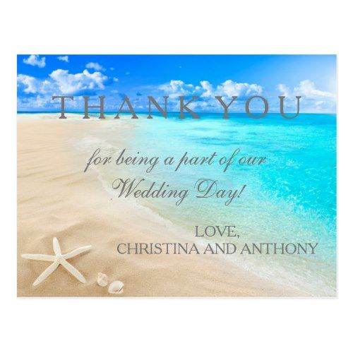 Beach Wedding Thank You Cards Starfish Destination Note Postcard