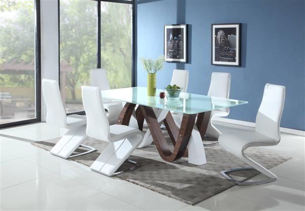 Celine Tara Metal Wood Glass Pu Dining Room Set  Chintaly Imports Extraordinary Glass Dining Room Set Inspiration