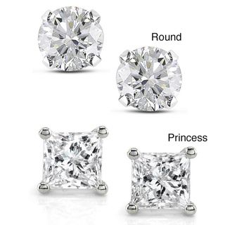 H VS2 Princes Cut Stud Earring 0.50 to 3.00 Ct Total Weight 14k W Gold Christmas