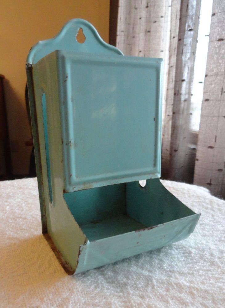 Vintage Metal Matchbox Holder Turquoise Blue P N Co