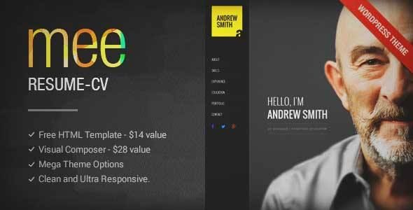 Download and review of MEE - Responsive CV Resume Theme, one of - wordpress resume themes