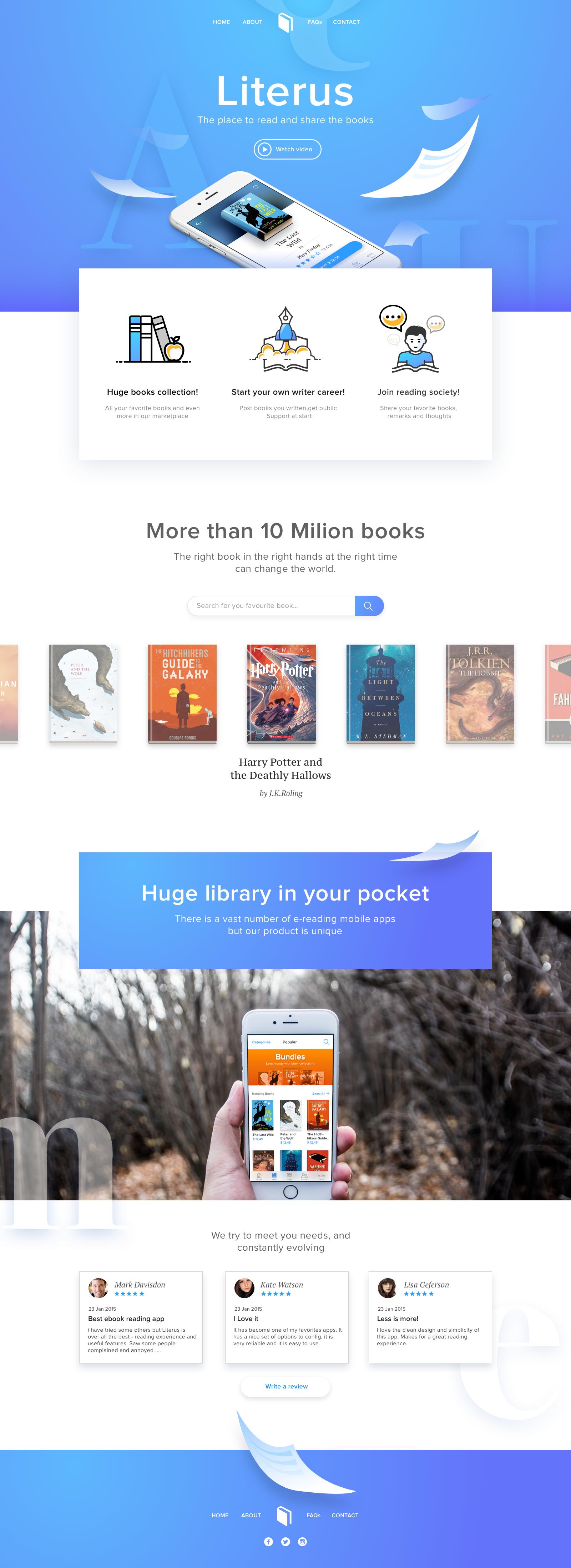 Book App Landing Png By Taras Bakusevych Web Design Trends Web Development Design Web Design Company
