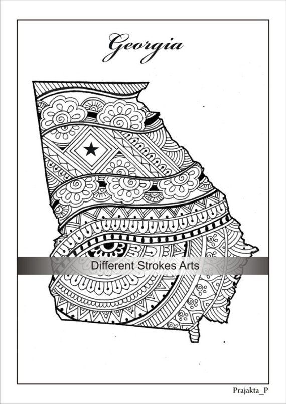 Georgia state map, decorative maps, usa adult coloring