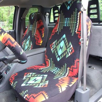 1 Set Of Aztec Print Car Seat Covers And Steering Wheel Cover Custom Made