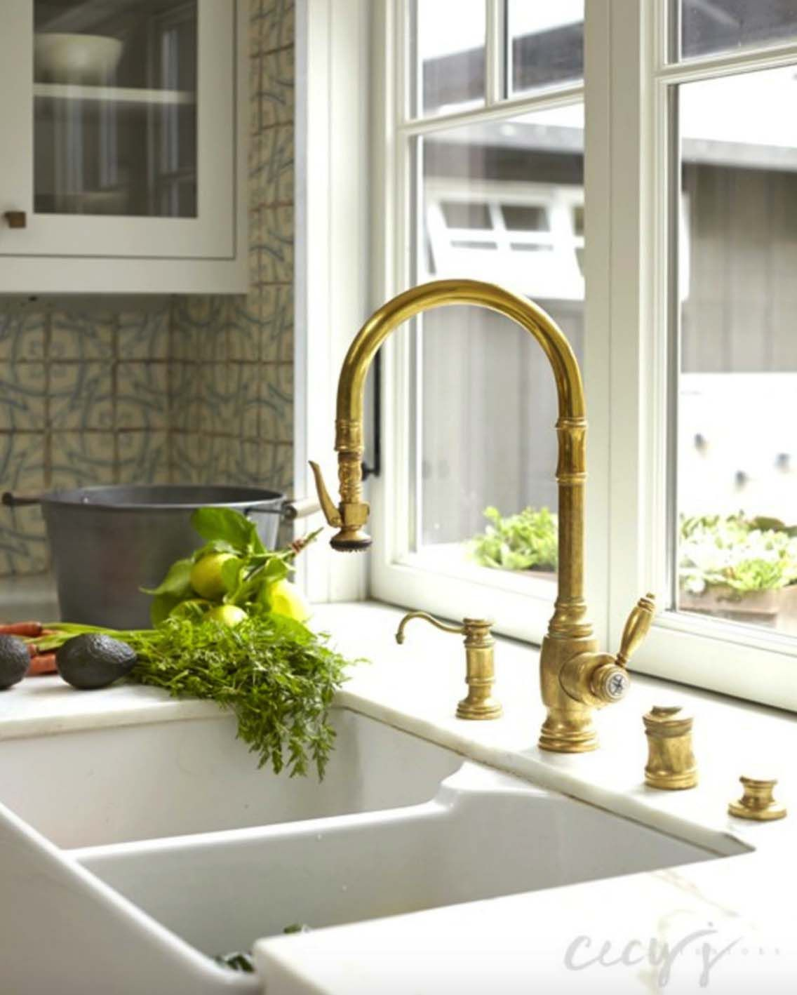 Casual Elegance Defines This Bungalow Style Home In California Gooseneck Kitchen Faucet Gold Kitchen Faucet Brass Kitchen Faucet