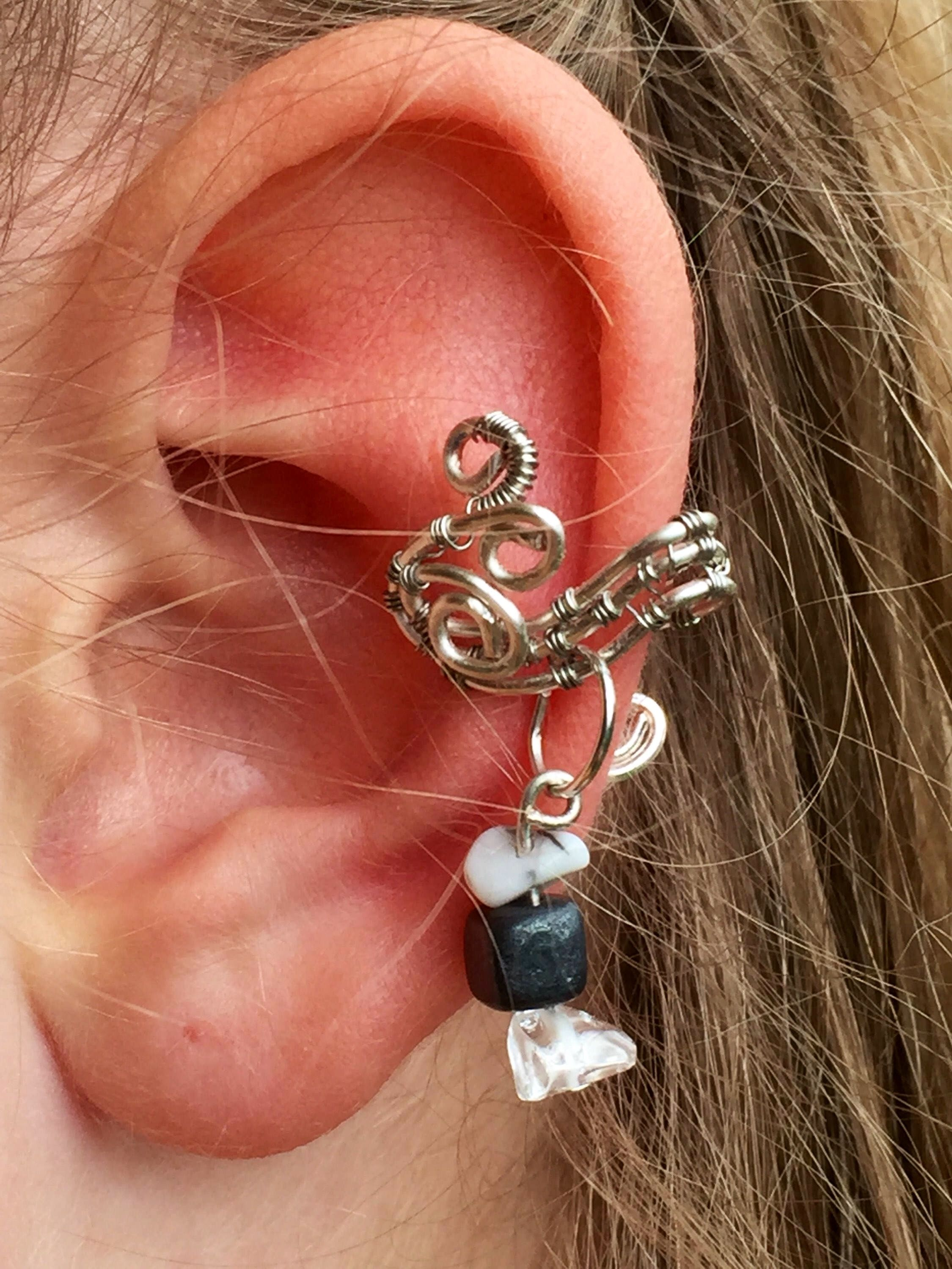 Nose and ear piercing  black and white ear cuff hematite white turquoise and smoky