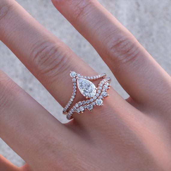 Pear Shaped Engagement Set, Chevron Moissanite Bri