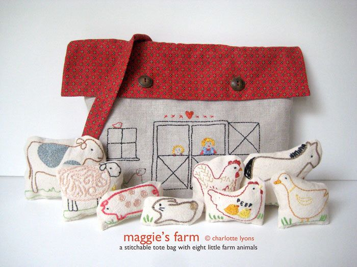 maggie's farm PDF : a stitchable barn tote and eight little farm animals to go inside by charlottelyons on Etsy https://www.etsy.com/listing/82249449/maggies-farm-pdf-a-stitchable-barn-tote