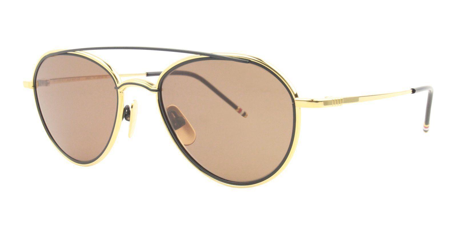 30e01cc3dc8c ... Sunglasses by DESIGNER EYES. Thom Browne - TB-109 Yellow Gold - Matte  Navy - Dark Brown - AR