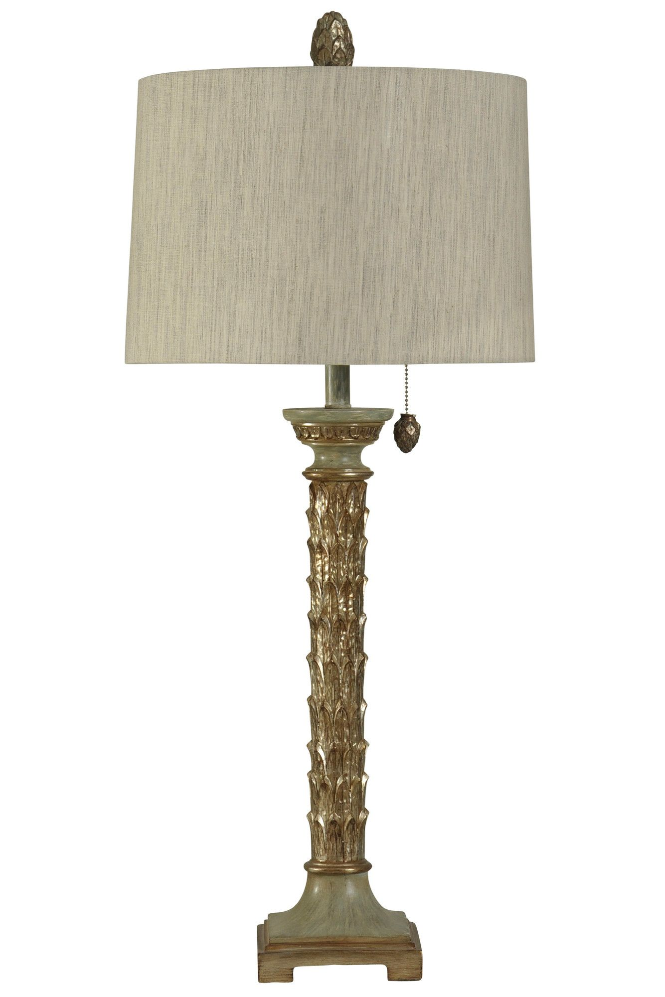"Sulgrave Carved Leaf 37"" Table Lamp"