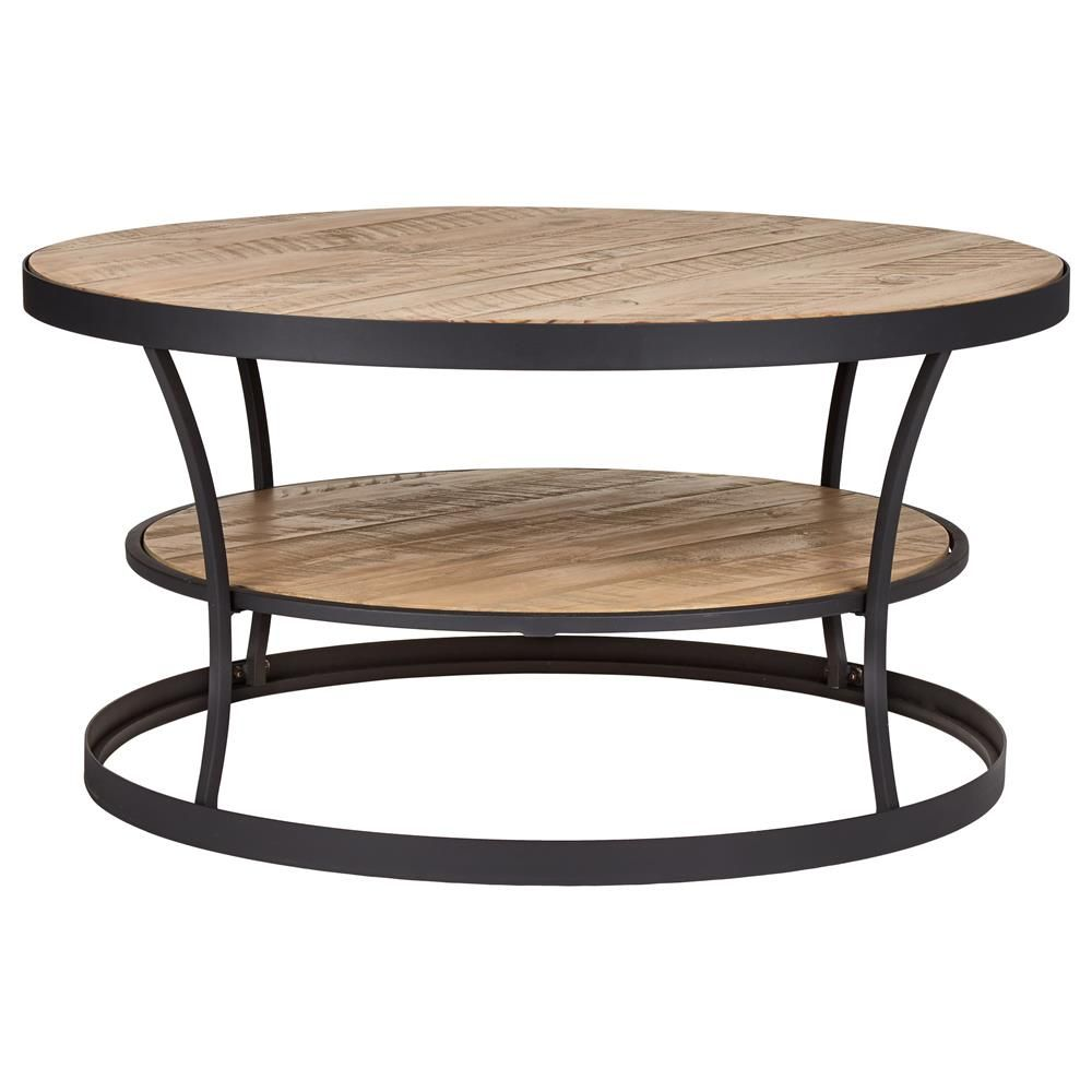 Table basse ronde en bois et en m tal avec tag re tables - Table basse metal ronde ...