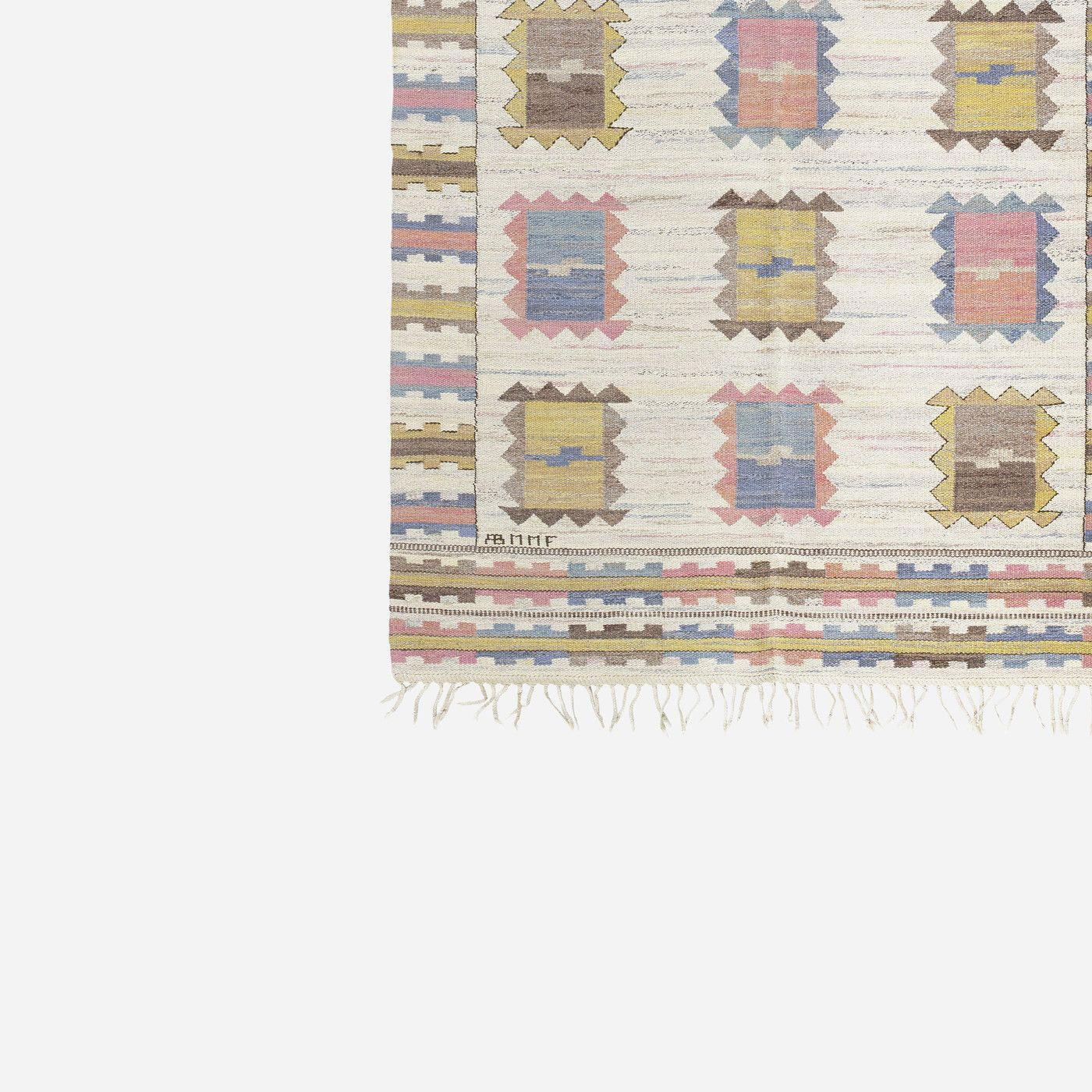 530: Märta Måås-Fjetterström / Ljusa Plador flatweave carpet < 20th Century Carpets, 12 June 2015 < Auctions | Wright