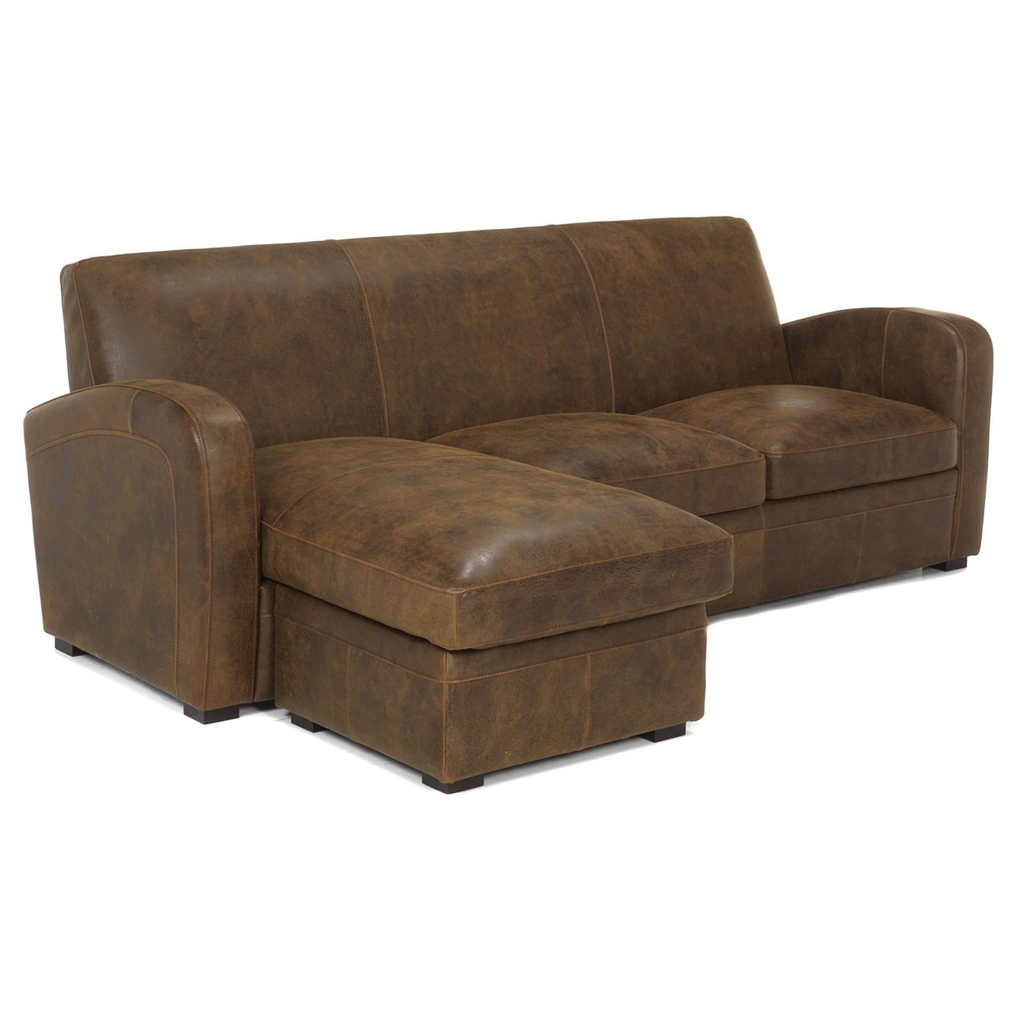 Canap d 39 angle r versible en croute de cuir marron vieilli cuba salon canap s d 39 angle for Canape et salon