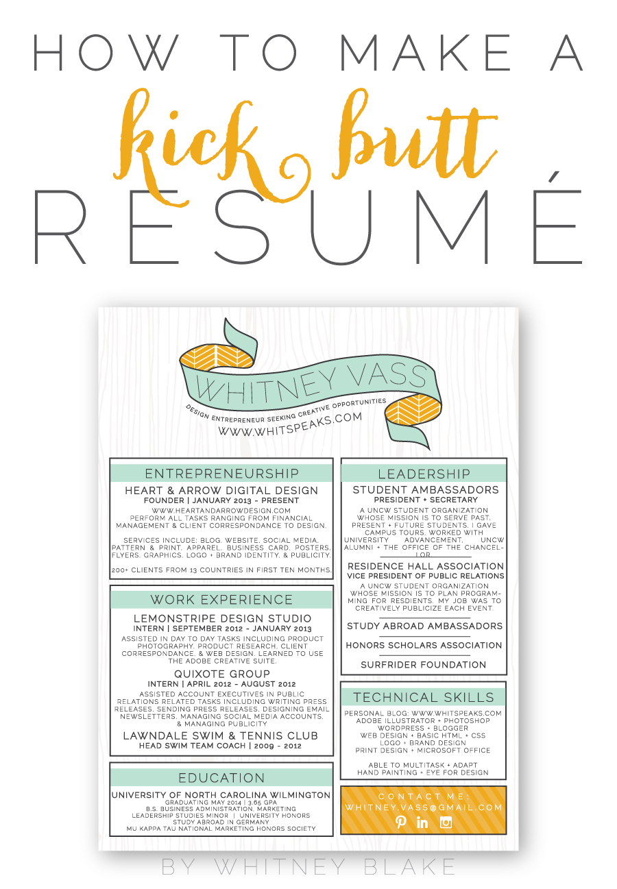 Entrepreneur Resume How To Make A Kick Butt Resumé  Creative Advice And College