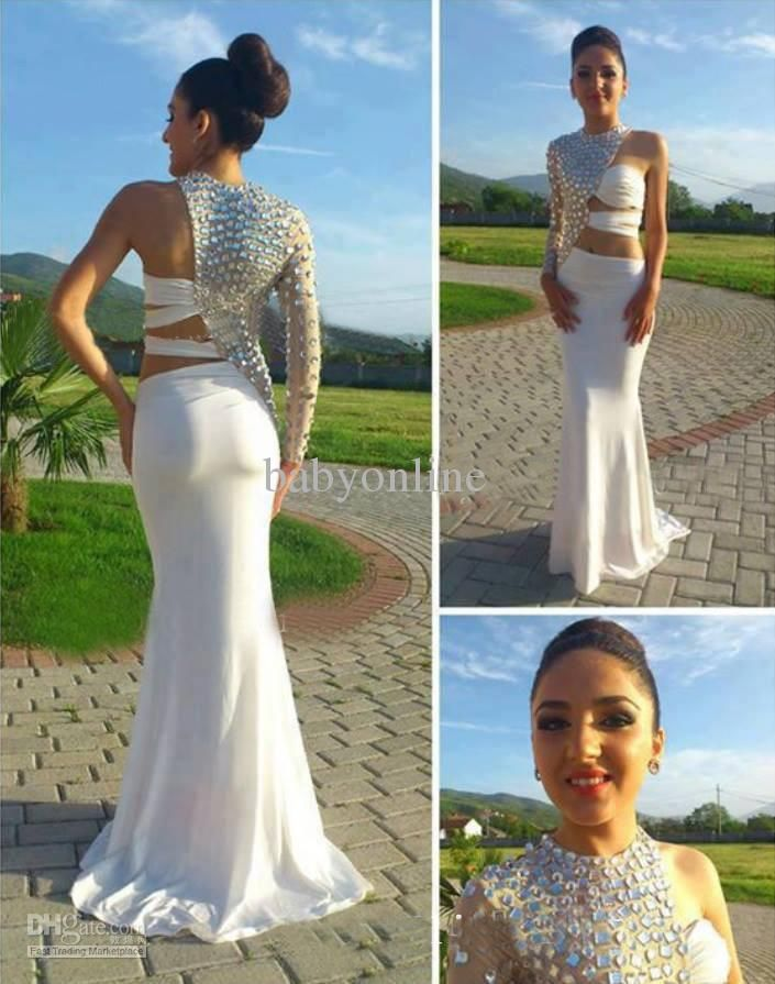2014 Sexy Backless Design Dresses For Proms Pageant Dresses High-Neck  Crystal Long Sleeve Chiffon Evening Party Gowns On Sale BO1127 0635619d640a