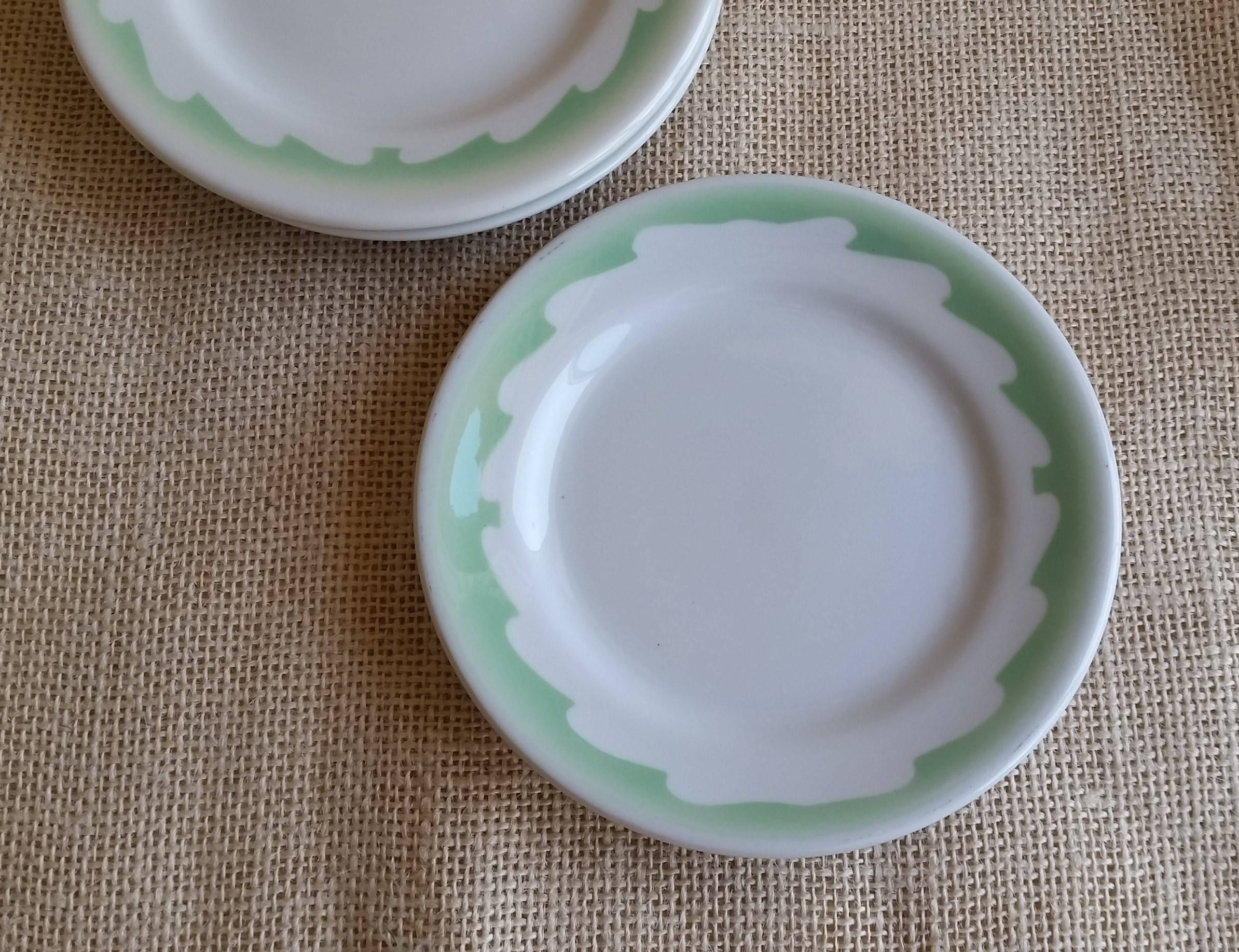 Sterling China Plates Vintage Restaurant Ware Set of 3 Mid Century Modern White and Green Vitrified & Mid Century Modern Plates Sterling China Plates Vintage Restaurant ...