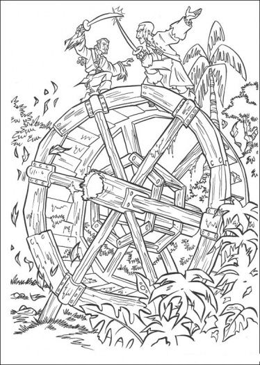 They Are Figthing At Waterwheel Pirate Coloring Pages Coloring Pages Cool Coloring Pages