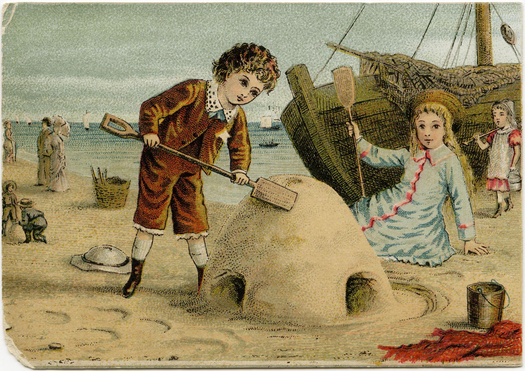 antique seaside picture   victorian beach scene, children ...