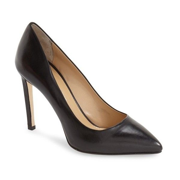 Women's Charles David 'susan' Pointy Toe Pump (£210) ❤ liked on Polyvore featuring shoes, pumps, black leather, black pointy-toe pumps, leather shoes, black pumps, pointy toe pumps and high heel stilettos