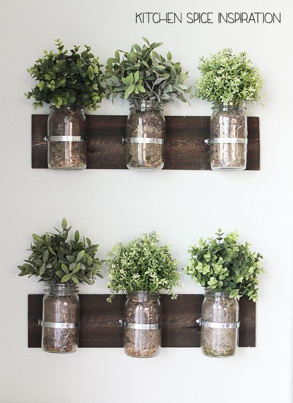 Fresh Herb Garden On The Kitchen Wall With Images Herb Garden