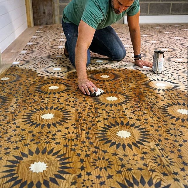 Hand Painted And Stenciled Hardwood Floors Stained Unfinished Floor Ideas On A Budget Using Easy Ti Painting Tile Floors Painting Tile Moroccan Tiles Pattern