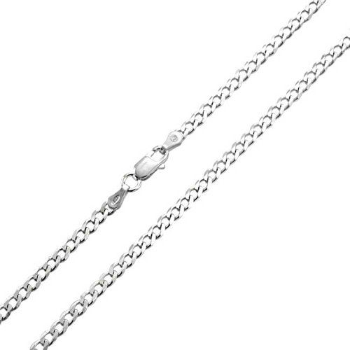 Bling Jewelry Sterling Silver Mens Curb Cuban Chain Necklace 80 Gauge Italy