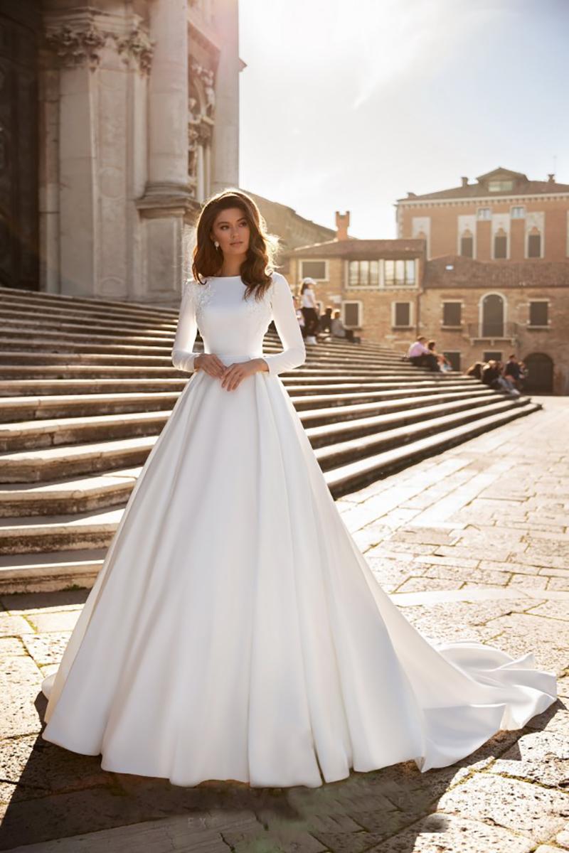Verngo A line Wedding Dress Ivory Satin Wedding Gowns