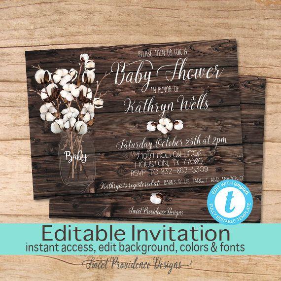 rustic baby shower invitation, baby shower invitation, cotton boll, Baby shower invitations