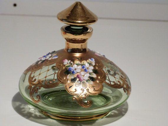 Moser Bohemian Glass Antique Perfume bottle, Bohemian Moser Glass, Stunning czech greenish Gold floral moser