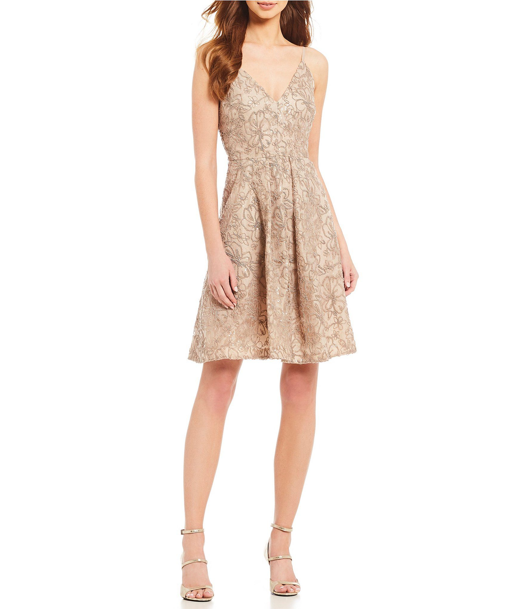 Calvin klein floral lace embroidered dress bridesmaid dresses