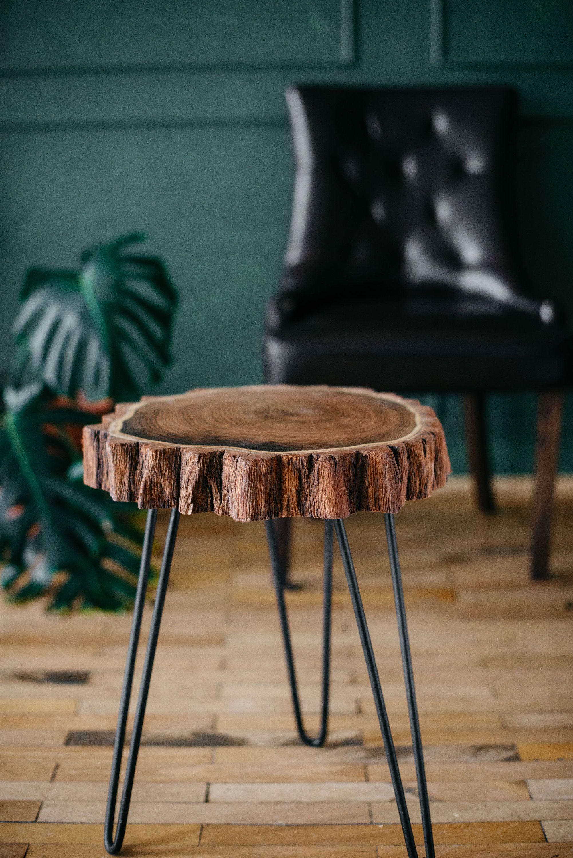 mid century coffee table rustic wood