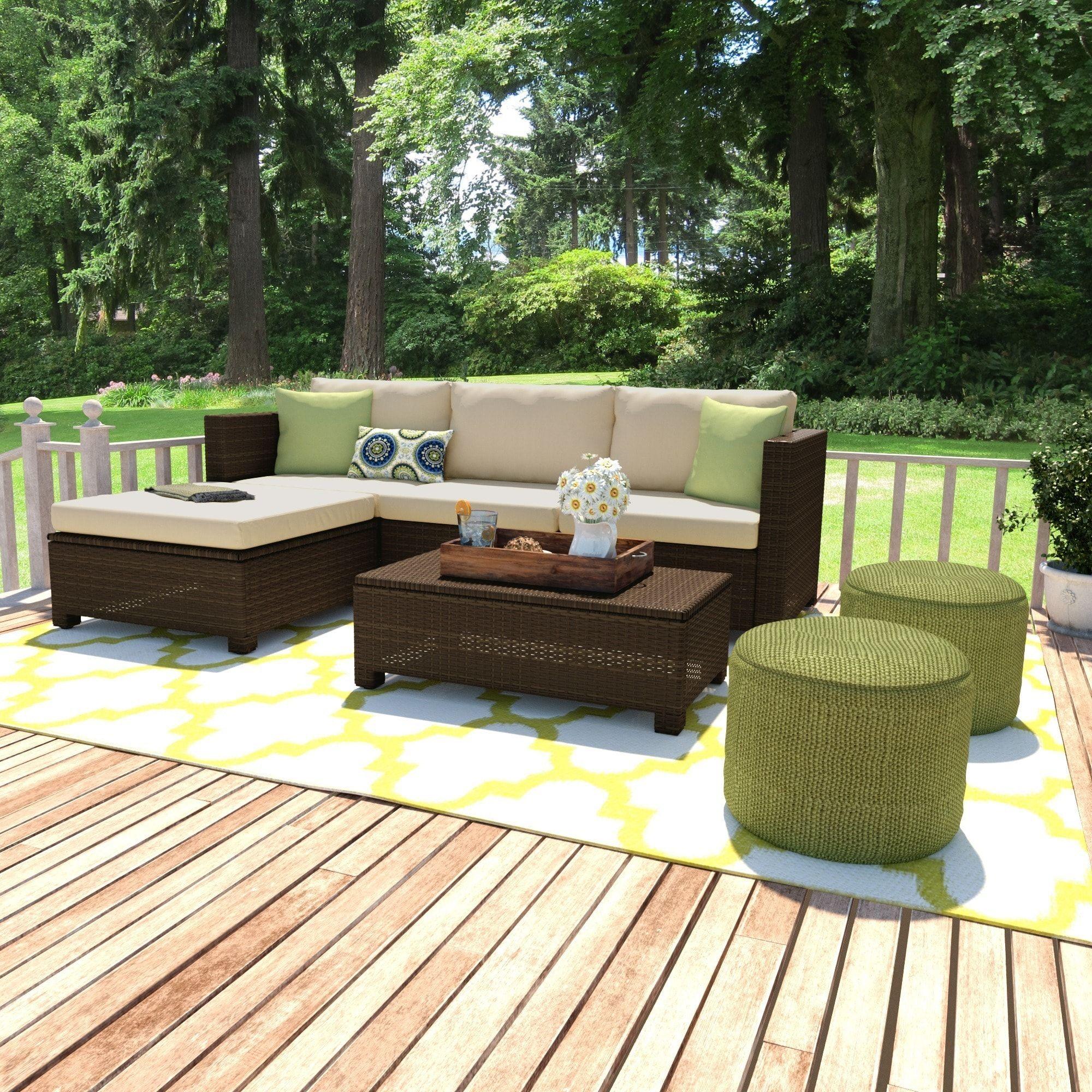 Havenside Home Stillwater Brown 5 Piece Indoor Outdoor Sectional