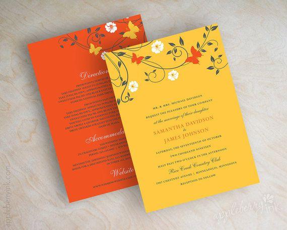 Orange And Green Wedding Invitations: Wedding Invitations, Swirly Hibiscus Vines In Tangerine